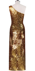 Long dress in metallic gold sequin spangles fabric and one-shoulder cut back view