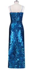 Long dress in metallic turquoise sequin spangles fabric and classic cut back view
