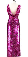 Long dress in metallic fuchsia sequin spangles fabric and cowl back rear view