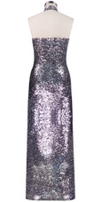 Long dress in metallic silver sequin spangles fabric and Chinese collar back view