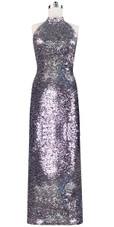 Long dress in metallic silver sequin spangles fabric and Chinese collar front view