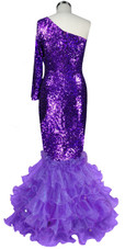 Long dress in metallic purple sequin spangles fabric with purple organza ruffles and one sleeve cut back view
