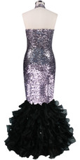 Long dress in metallic silver sequin spangles fabric with black organza ruffles and Chinese Collar back view