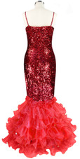 Long dress in metallic red sequin spangles fabric with red organza ruffles back view