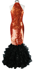 Long dress in metallic copper sequin spangles fabric with black organza ruffles and keyhole Chinese neckline back view