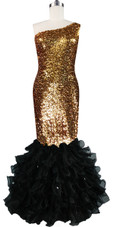 Long dress in metallic gold sequin spangles fabric with black organza ruffles and one-shoulder neckline front view