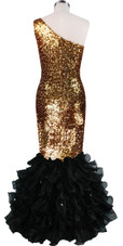 Long dress in metallic gold sequin spangles fabric with black organza ruffles and one-shoulder neckline back view