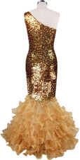 Long dress in metallic gold sequin spangles fabric with gold organza ruffles and one-shoulder neckline back view