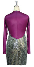 Short patterned dress with long sleeves in silver sequin spangles fabric and purple stretch ITY fabric back view