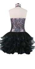 Short  sequin fabric dress with a Chinese collar and open back in silver sequin spangles fabric With Ruffle Hemline back view