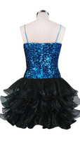 Short Sequin Fabric Dress In Turquoise Sequin Spangles Fabric With Ruffle Hemline In Black Back View