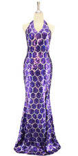 Long Handmade 10mm Flat Sequin Swirl Patterned Gown Front view