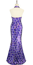 Long Handmade 10mm Flat Sequin Swirl Patterned Gown Back view