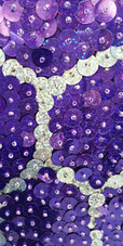 Long Handmade 10mm Flat Sequin Swirl Patterned Gown Close up view