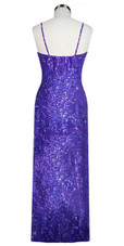A Long Handmade Sequin Dress, In Purple 8mm Cupped Sequins Back View