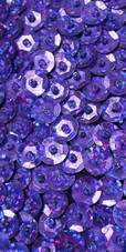 A Long Handmade Sequin Dress, In Purple 8mm Cupped Sequins Close Up View