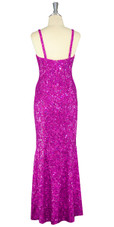 Long Handmade 8mm Cupped Sequin Dress in Hologram Fuchsia back view
