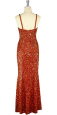Long Handmade 8mm Cupped Sequin Dress in Hologram Brown back view