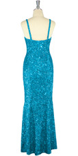 Long Handmade 8mm Cupped Sequin Dress in Hologram Turquoise Blue back view