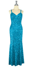 Long Handmade 8mm Cupped Sequin Dress in Hologram Turquoise Blue front view