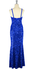 Long Handmade 8mm Cupped Sequin Dress in Hologram Dark Blue back view