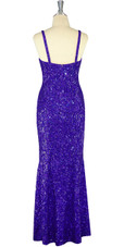 Long Handmade 8mm Cupped Sequin Dress in Hologram Royal Purple back view