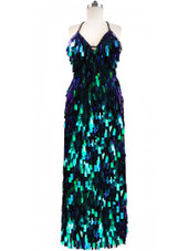 Long Handmade Rectangular Paillette Sequin Gown in Iridescent Green Front View
