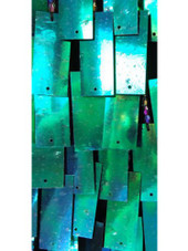 Long Handmade Rectangular Paillette Sequin Gown in Iridescent Green close up view