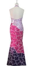 Handmade Long Patterned Halter Neck Dress in Pink and Purple 8mm Cupped Sequins Back View