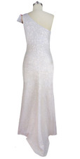 Handmade White and Red Long Patterned One-Shoulder Dress in 8mm Cupped Sequins with Fishtail Back View