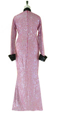Long Handmade Sequin Gown with Collar and Sleeves in Black and Pink Back View
