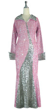Long Handmade Sequin Gown with Collar and Sleeves in Pink and Silver front view
