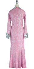 Long Handmade Sequin Gown with Collar and Sleeves in Pink and Silver back view