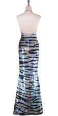 Long Handmade Animal Patterned Black and Silver Sequin Dress Back View