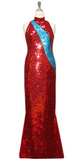 Long Handmade Patterned Sequin Chinese Collar Gown in Red and Turquoise Front View