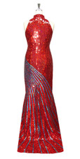 Long Handmade Patterned Sequin Chinese Collar Gown in Red and Turquoise Back View