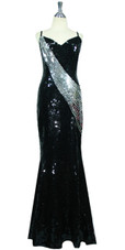 Long Handmade Flat 10mm Sequin Gown in Black and Silver front view