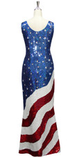 Long Handmade Patterned Sequin Stars and Stripes USA Gown in Red, White and Blue Back View