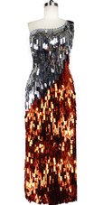 Long Handmade One-shouldered Rectangular Paillette Sequin Dress in Copper and Silver Front View