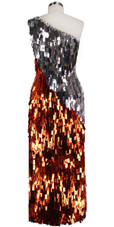 Long Handmade One-shouldered Rectangular Paillette Sequin Dress in Copper and Silver Back View
