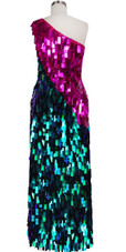 Long Handmade One-shouldered Rectangular Paillette Sequin Dress in Fuchsia and Green Back View
