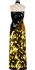 Long Handmade Rectangular Paillette Sequin Dress in Gold and Black Back View
