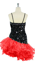 Short Handmade 20mm Paillette Hanging Black Sequin Dress with Red Diagonal Organza Hemline back view