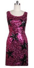 Sequin Fabric Short Dress in Fuchsia Sequins with Black Star Pattern and U-shape Neckline Front View