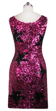 Sequin Fabric Short Dress in Fuchsia Sequins with Black Star Pattern and U-shape Neckline Back View