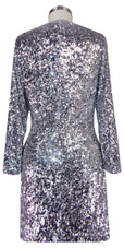 Sequin Fabric Short Dress in Silver Metallic Sequins with Sleeves Back View