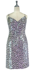 Short Patterned Handmade 10mm Flat Sequin Dress in Black and Light Pink Front View