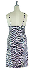 Short Patterned Handmade 10mm Flat Sequin Dress in Black and Light Pink Back view