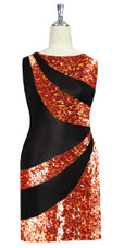 Short patterned dress in metallic copper and black sequin spangles fabric front view