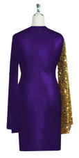 Short patterned dress in metallic gold sequin spangles fabric and stretch purple fabric with oversized sleeves Back